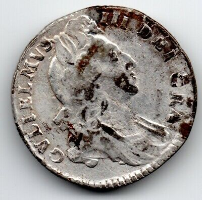 1697 SOLID SILVER Shilling Coin Antique British V King William Royal Mint Old UK