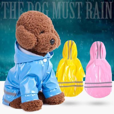Pet Puppy Dog Cat Waterproof Raincoat Hooded Outdoor Jacket Clothes LC