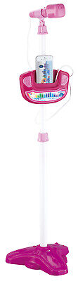 Kids Karaoke Adjustable Stand Music Microphone Toy Light PINK Girls Phone Aux 05
