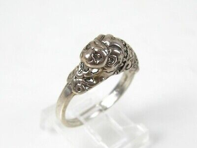 Vintage Sterling Silver Dimensional Chinese Lion Head Ladies Ring 4.3g
