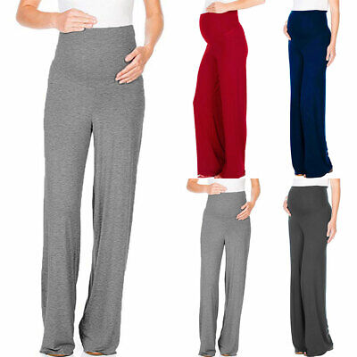Maternity Pregnant Women Straight Trousers Casual Work Office Over Bump Pants UK