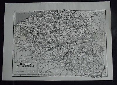Vintage Map: Belgium & Luxembourg, Europe, by Emery Walker, c 1950s, B/W