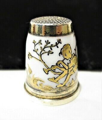 Antique Vintage Sterling Silver Thimble Gilted Germany Boy Playing Flute Size 7