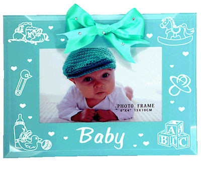 Blue glass baby boy photo frame  hold 4x6 inch picture