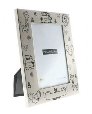 Noahs ark theme photo frame with black decals and engravable space