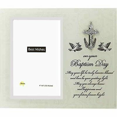Baptism glass photo frame holds 4x6 inch picture