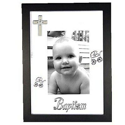 Baptisim baby black wooden photo frame with pram design 4x6 inch picture