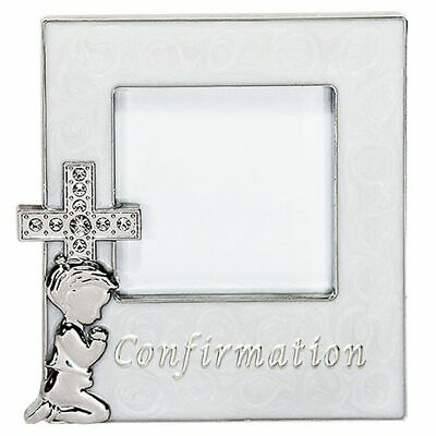 Confirmation enamelled photo frame with diamond cross child praying