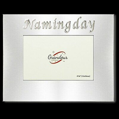 Naming day photo frame silver enamel embossed sticker 4x6 inch picture