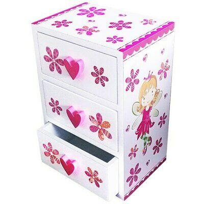 Jewellery box pink and white fairy theme with 3 drawers