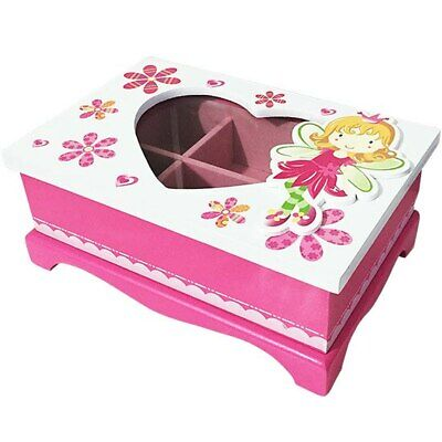 Jewellery box pink and white fairy with heart lid