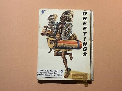 African Dancers Greetings Sapra Studio Vintage Souvenir Folder Africa