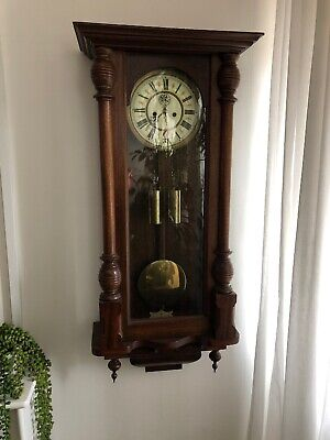 Antique Vienna Wall Clock Twin  Double Weight  Needs Attention