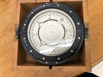 "Vintage US Navy Mark 1 7"" Compass by Lionel Corp. - Nautical WWII c. 1943"