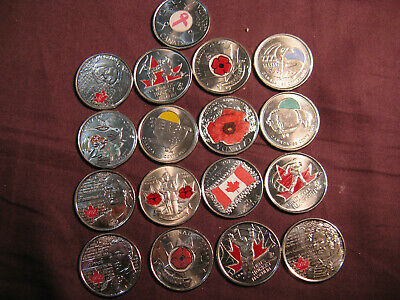 Canada Coloured Coins Fabulous Set Of 17 Commemorative Coloured 25 Cent Coins.