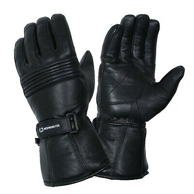 WFX Leather Thermal Thinsulate Winter Motorbike Gloves Waterproof Protection