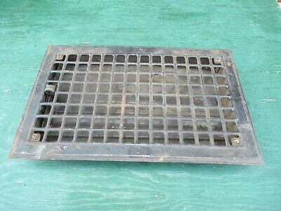 """Vintage Tin Floor Grille Heat Grate Register 16"""" long x 10"""" wide with Louvers"""