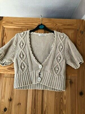 GEORGE Ladies Pretty Beige V Neck Short Sleeved Cropped Cable Knit Cardigan 16