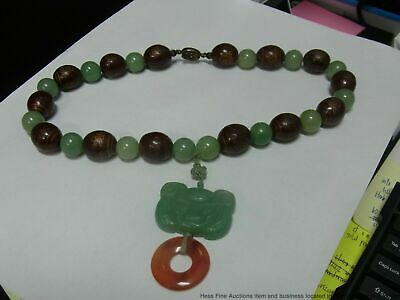 Aventurine Necklace antique Chinese late Qing celadon carve bead amulet