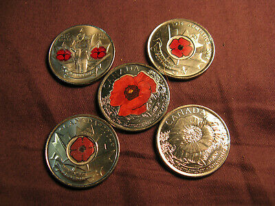 Canada WWI & WWII Remembrance Day Complete Set Of Poppy 25 Cent Coins A Beauty!