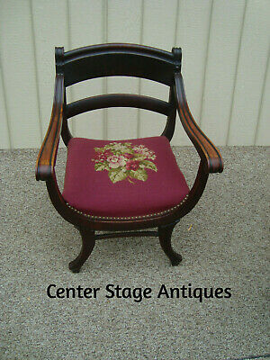 60119 Antique Mahogany Accent Chair with Needlepoint Seat