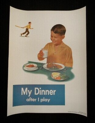 >orig./GEM!! 1958 NATIONAL DAIRY COUNCIL 18x14 POSTER **My Dinner After I Play**