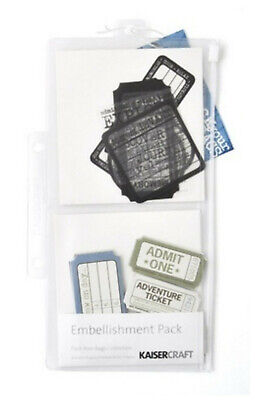 KAISERCRAFT EMBELLISHMENT PACK YOUR BAGS Acetate Shapes Travel Ticket Clear Bag