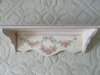 GORGEOUS Christie REPASY WALL SHELF Wreath Garlands PINK ROSES DECAL Aqua Bows