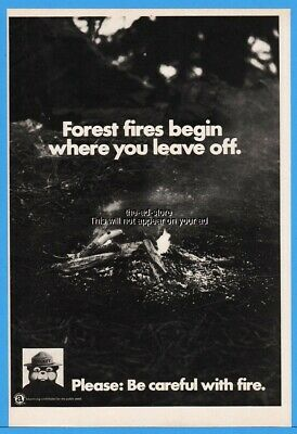 1973 Smokey Bear Forest Fires Begin Where You Leave Off Magazine Print Ad
