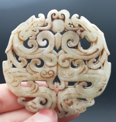 Chinese Old He tian jade Exquisite Hand carved Ssangyong Double Phoenix Pendant