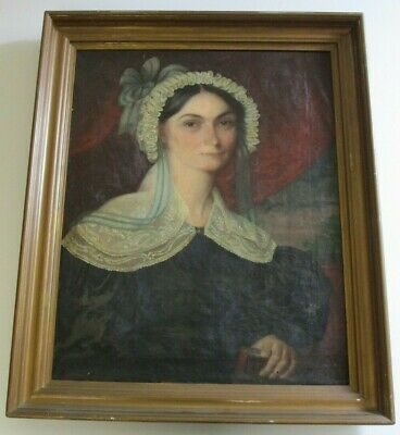 Antique 19Th Century Painting Portrait Large Female Woman Model Signed 1830'S