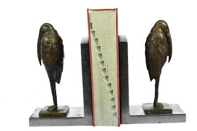 Vintage Art Deco Bronze Pelican Bird Beak Bookend, Pair Hot Cast Decoration Dali