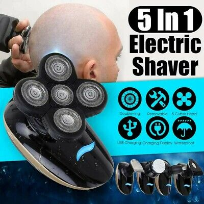 5 In1 4D USB Rechargeable Bald Head Electric Shaver 5 Heads Razors Hair Clipper