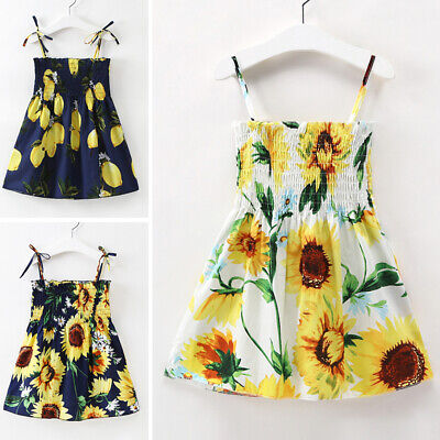 Kids Girls Casual Dress Toddler Baby Sleeveless Party Sundress Floral Print Cute
