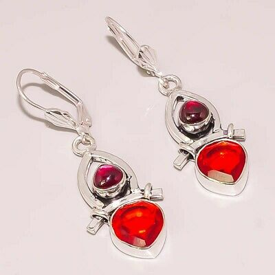 Natural Garnet Faceted Quartz Jewelry 925 Sterling Silver Plated Earring