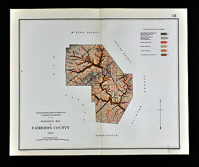 1884 Geological Map - Cameron County - Pennsylvania  by Lesley PA Geology Survey