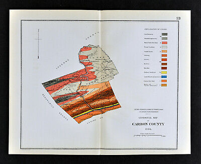 1884 Geological Map - Carbon County - Pennsylvania  by Lesley PA Geology Survey
