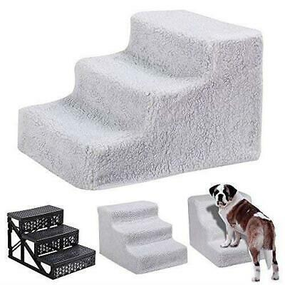 3 Steps Portable Pet Stairs Plush Covered Cat Dog Ramp Ladder Padded Easy Climb