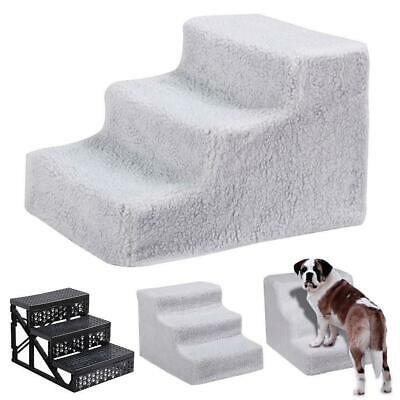 Pet Stairs 3 Steps Dog Cat Ramp Ladder Portable Travel Washable Cover Indoor