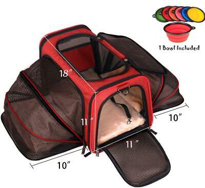 Expandable Pet Airline Designed Kittens Dogs Cats Carrier Puppies Spacious Soft