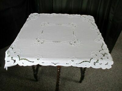 PRETTY TABLECLOTH - ALL WHITE COTTON with EMBROIDERY DECORATION