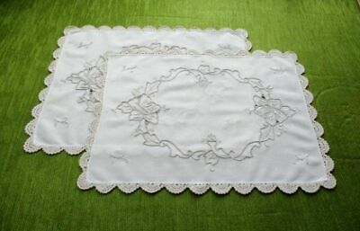 Pr. TRAY CLOTHS-HAND EMBROIDERED ROSES+CROCHET EDGE
