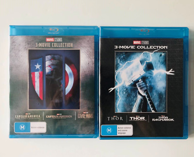 CAPTAIN AMERICA THOR 1-3 Movie Collection [Blu-ray] Marvel Trilogy 1 2 3 Set