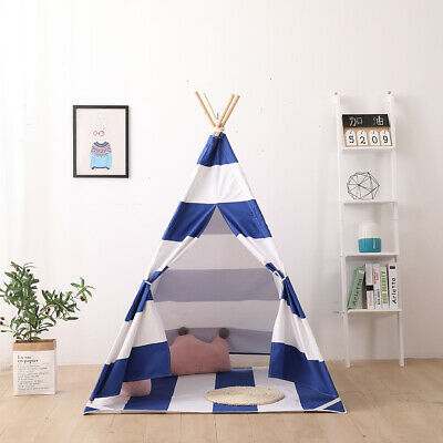 Kids Teepee Cotton Canvas Indian Tent Childrens Wigwam Indoor Outdoor Play House