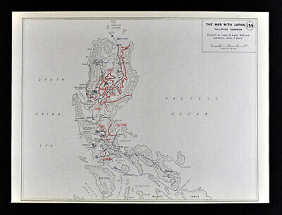 West Point WWII Map War with Japan Philippines Battle of Luzon Manila Baguio