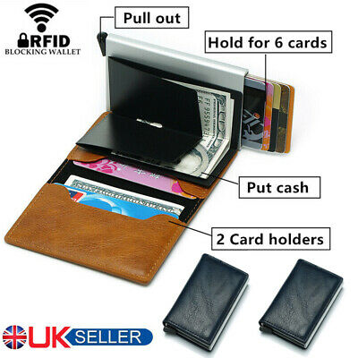 Men Antitheft Wallet RFID Blocking Pop-up Leather Card Holder Metal Purse Gift 1