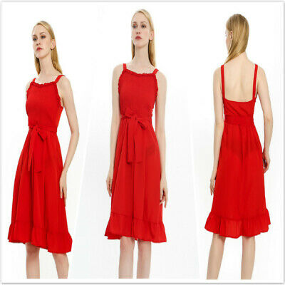 Summer Stylish Ladies Sling Tie Slim Waist Ruffle Bowknot Midi Dress CZ