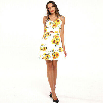 Summer Lady Sunflower Printed Stylish Sexy Beach Bow Wrapped Back Dress CZ