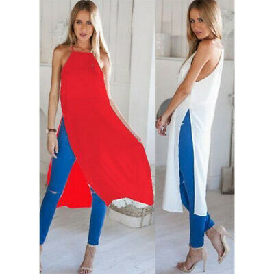 Women Summer Beach Boho Sexy Side Slit Evening Party Long Dress CZ