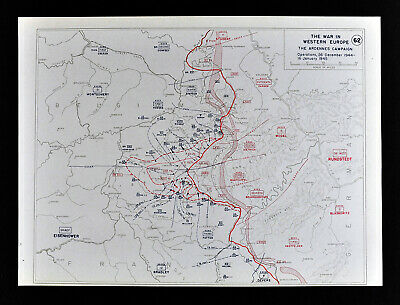 West Point WWII Map Ardennes Campaign Battle of the Bulge Allied Counter Attack